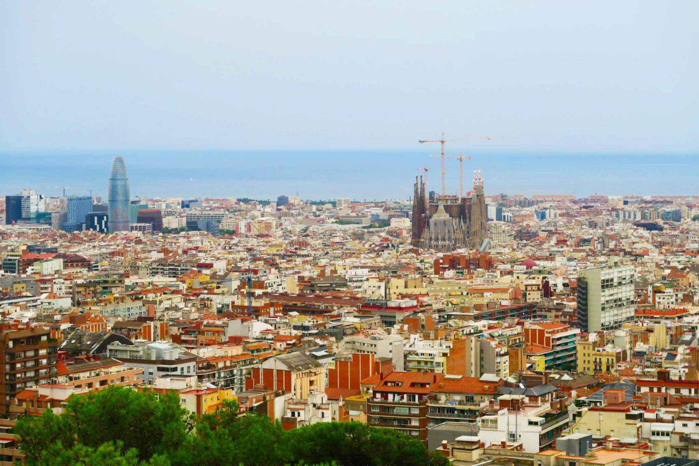 skyline of Barcelona city in Spain