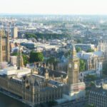 houses of parliament and big ben from the top of the london eye