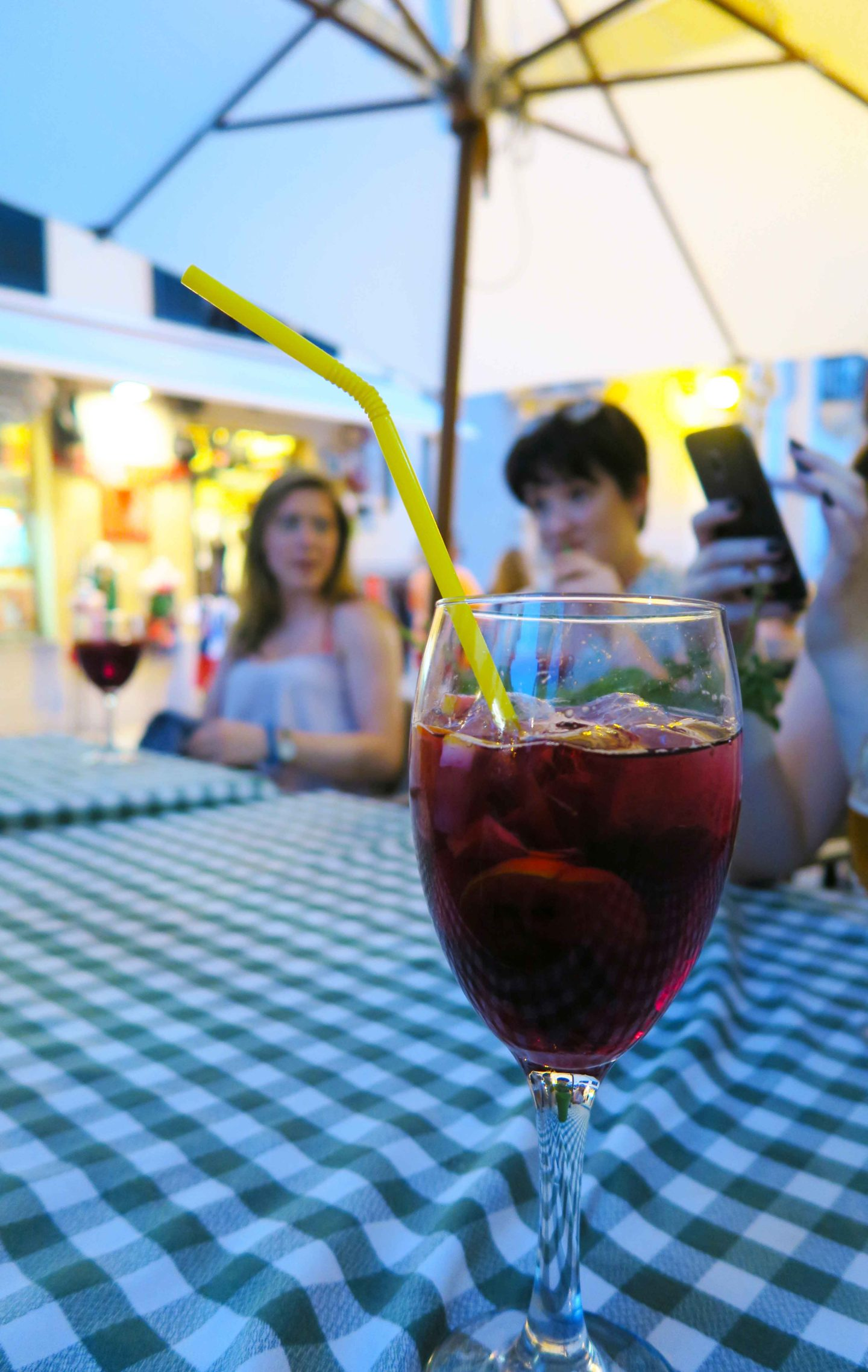 glass of sangria on table at restaurant in Alcudia, Mallorcs
