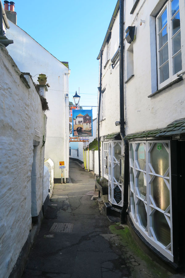 street in polperro fishing village in cornwall