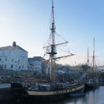 tall ship in charlestown harbour in cornwall