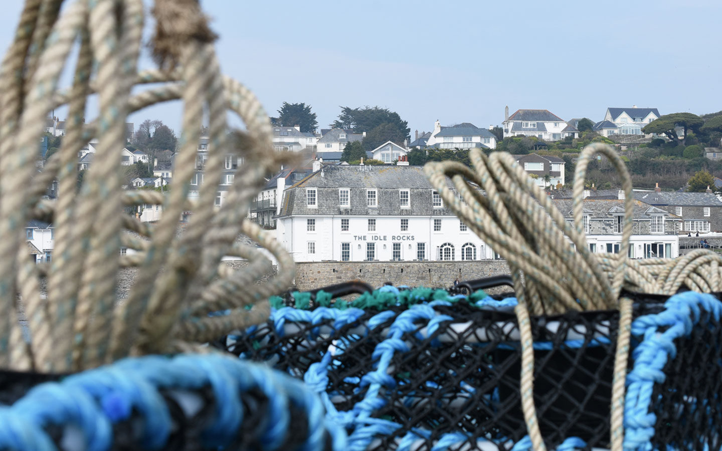 fishing nets and the idle rocks at saint mawes in cornwall