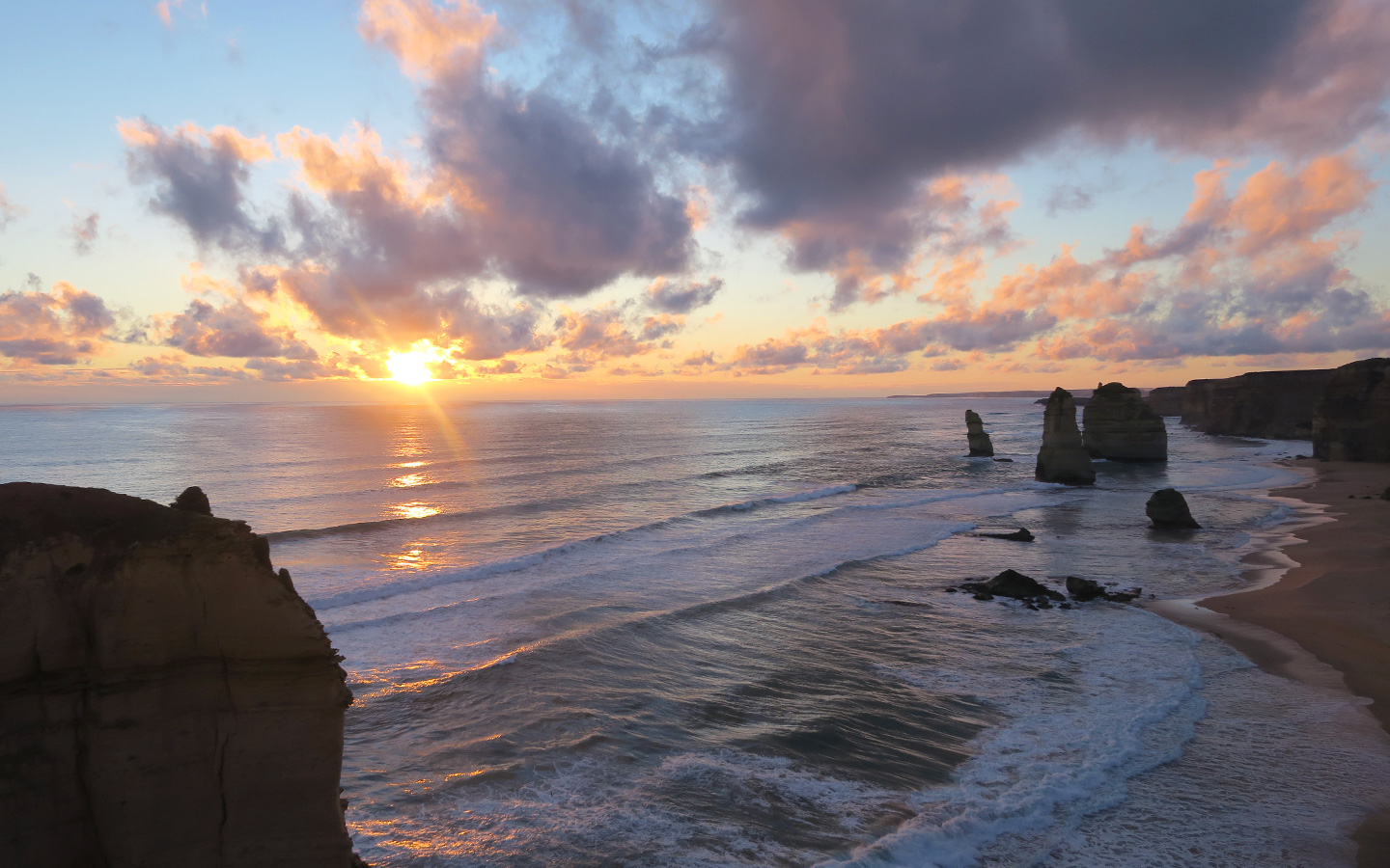 sunset at the twelve apostles on the great ocean road in australia