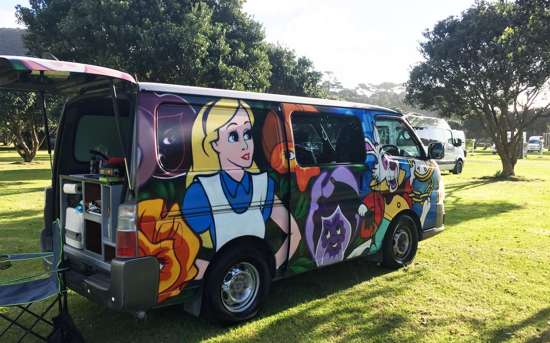 alice in wonderland escape camper van in new zealand