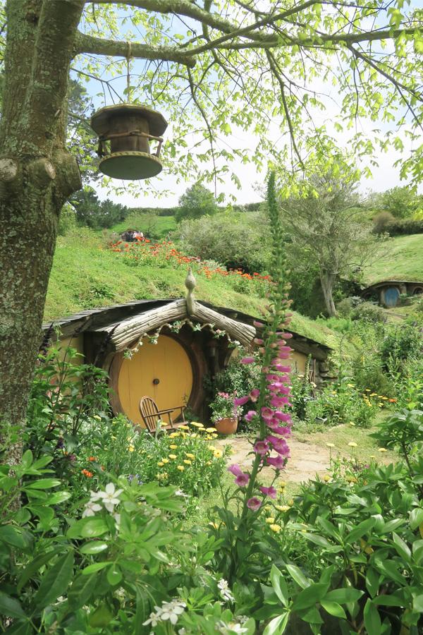 hobbit house and garden in hobbiton in new zealand