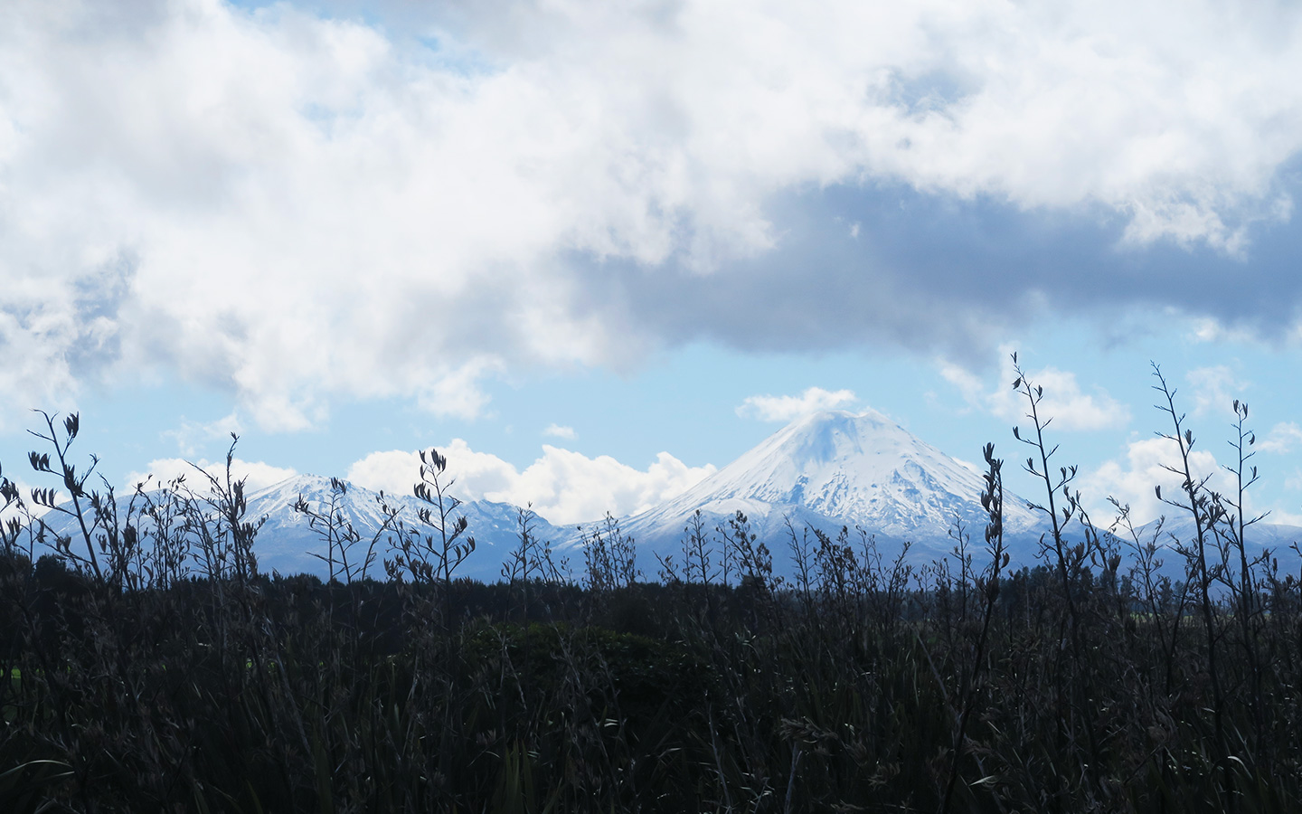long distance shot of mount tongariro with snow