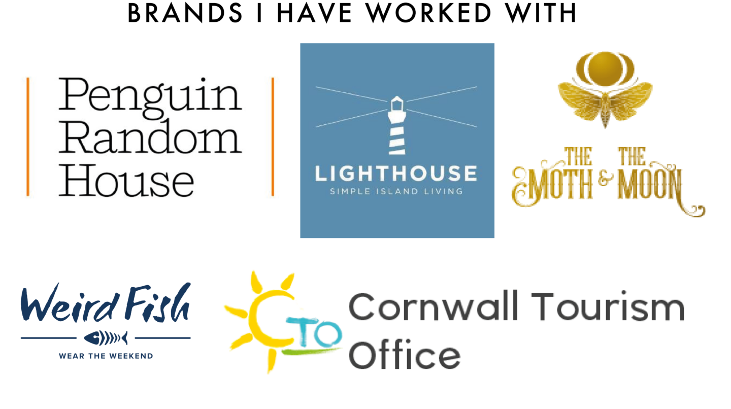 penguin random house, lighthhouse clothing, the moth and moon, weird fish, cornwall tourism office logo