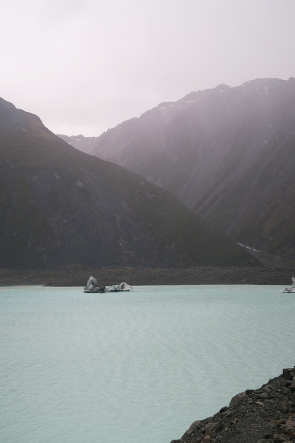 iceberg on lake tasman lake near mount cook in new zealand